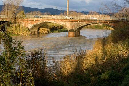 livorno: Cecina, Livorno, Tuscany - the flooded Cecina river due to heavy rains