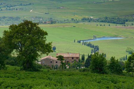 podere: Val dOrcia, Siena, mountain bike excursion in the Tuscan hills - panoramic view of the road Mezzoquarto Checche from Podere Isabella