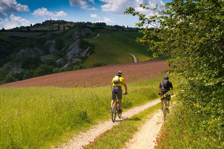 Val dOrcia, Siena, mountain bike excursion in the Tuscan hills - Stagnino locations along the county road Pienza Monticchiello