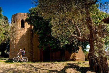 Val dOrcia, Siena, mountain bike excursion in the Tuscan hills - Pieve di Corsignano in Pienza