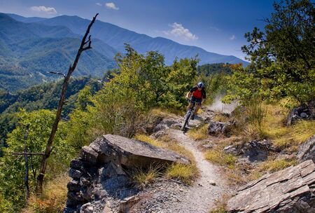 Mount Falterona (1600 meters), Florence, Tuscany, bike riding mountain bike in the Casentino National Park Stock Photo