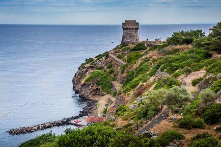 capraia: Capraia Island, Arcipelago Toscano National Park, Tuscany, Italy - the tower of the port with sea views