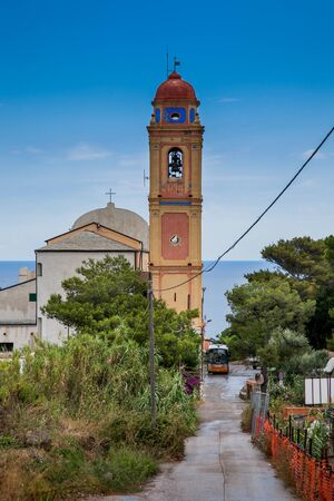 livorno: Capraia Island, Arcipelago Toscano National Park, Tuscany, Italy - Saint Nicola Church Stock Photo