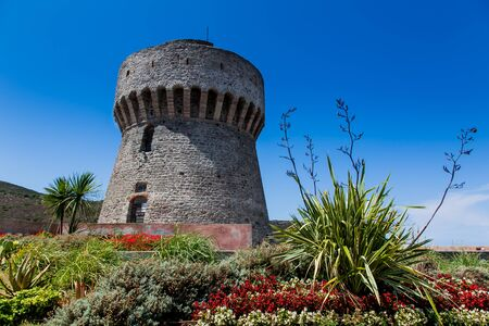 Capraia Island, Arcipelago Toscano National Park, Tuscany, Italy - the tower of the port with sea views