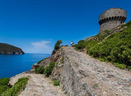 livorno: Capraia Island, Arcipelago Toscano National Park, Tuscany, Italy - the tower of the port with sea views