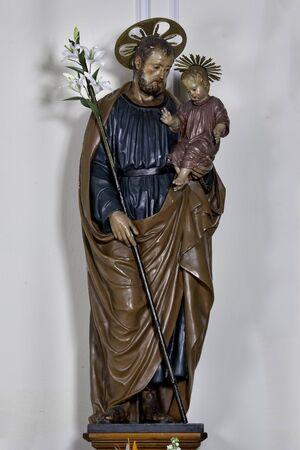 st  joseph: Cecina, Leghorn, Italy - wooden statue of St. Joseph preserved in the Duomo di Cecina Stock Photo