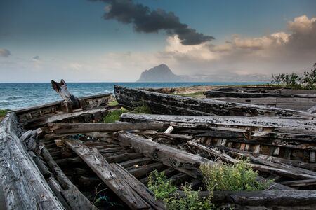 erice: Bonagia, Trapani, Sicily - old wooden boats in a village of Italian fishermen Stock Photo