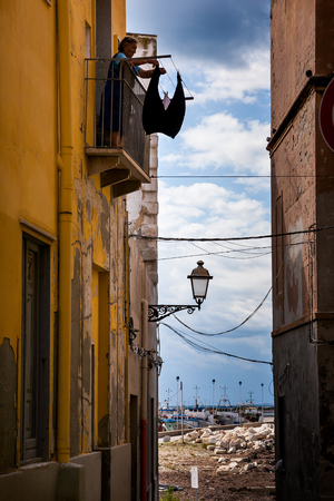 erice: Trapani, Sicily, Italy - panoramic view woman at windows
