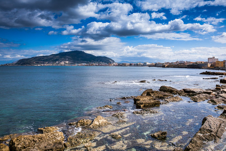 erice: Trapani, Sicily, Italy - panoramic view from the sea near the harbour