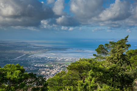 erice: Erice, Trapani, Sicily, Italy - panoramic view in background Trapani Stock Photo
