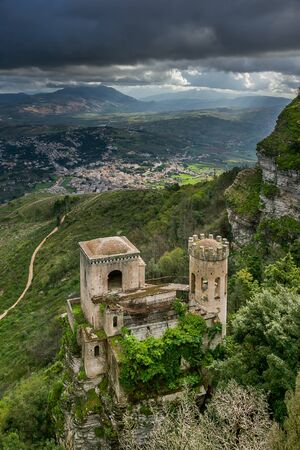 erice: Erice, Trapani, Sicily, Italy - View of Torretta Pepoli and Venus castle Editorial