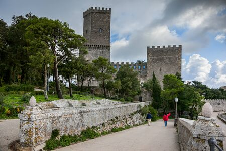 erice: Erice, Trapani, Sicily, Italy - Ancient stone Venus castle at the hilltop town