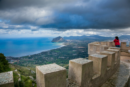 erice: Erice, Trapani, Sicily, Italy - Ancient stone Venus at the hilltop town Stock Photo