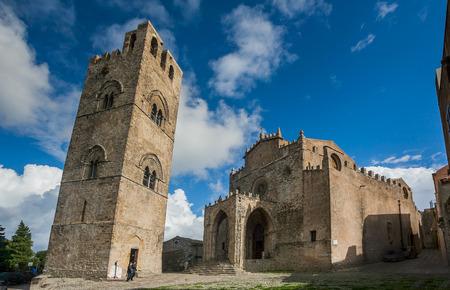 Erice, Trapani, Sicilië, Italië - Kathedraal van Erice, Santa Maria Assunta, Chiesa Madre (Matrice of hoofdkerk) Stockfoto