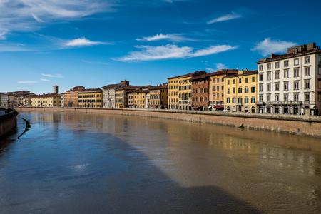 river arno: Arno river in Pisa, Tuscany, Italy - Italian architecture