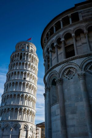The Leaning Tower of Pisa in Piazza dei Miracoli in Pisa, Italy