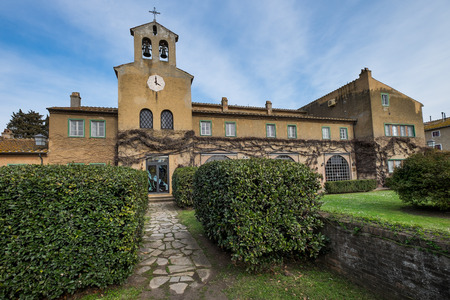 Bolgheri, Leghorn - The little church View of San Guido near famous cypress avenue, Tuscany, Italy