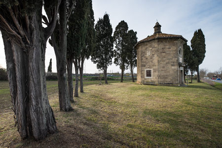 Bolgheri, Leghorn - View of Oratorio San Guido near famous cypress avenue, Tuscany, Italy