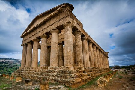 Temple of Concordia ancient Greek landmark in the Valley of the Temples outside Agrigento, Sicily