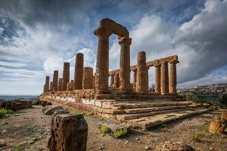 Temple of Juno ancient Greek landmark in the Valley of the Temples outside Agrigento, Sicily Stock Photo