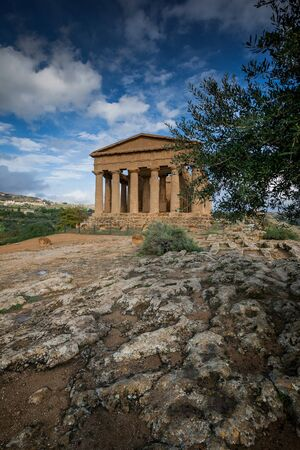 ancient Greek landmark in the Valley of the Temples outside Agrigento, Sicily