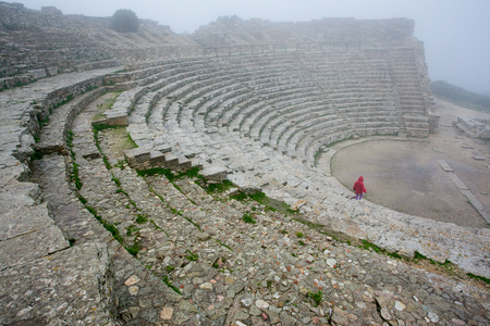 Segesta, Italy - September 15, 2009: The 2nd century greek Theatre of Segesta, historical landmark in Sicily, Italy Editorial