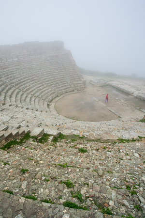 Segesta, Italy - September 15, 2009: The 2nd century greek Theatre of Segesta, historical landmark in Sicily, Italy Stock Photo