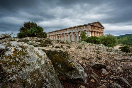 Segesta, Italy - September 15, 2009: The 2nd century greek Theatre of Segesta, historical landmark in Sicily, Italy Editorial