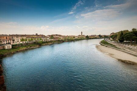 Verona, Italy. Detail of medieval stone bridge of Ponte Scaligero, over Adige River, built in 14th century near Castelvecchio