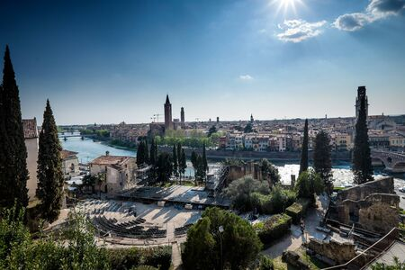 Verona, Italy - view of the city from roman Amphitheater of the Teatro Romano in Verona, Italy, with the Archaeological Museum Stock Photo