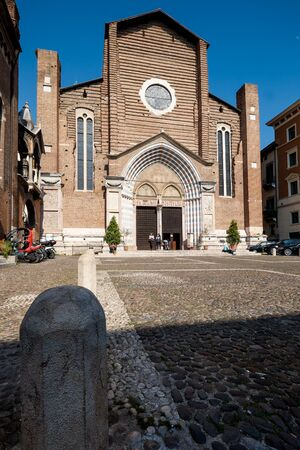 VERONA, Italy - April 04, 2017: facade of St. Peter of Verona in Santa Anastasia Church Editorial