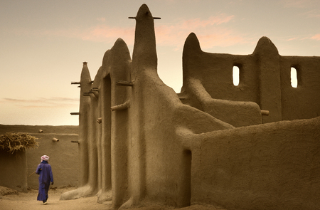 Mali, West Africa, Djenne - impressive mosques built entirely of clay