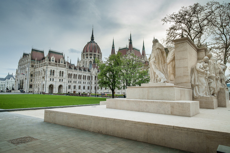 afterglow: Budapest, Hungary - The sculpture by Luigi Kossuth on background The Parliament
