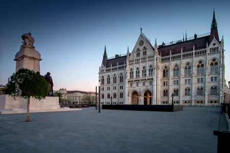 parliaments: Budapest, Hungary - One of Parliaments revenue on sunset