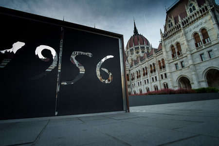 Budapest, Hungary - 1956 - remember the revolution and The Parliament Redakční