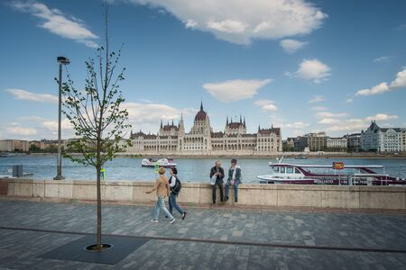 parliaments: BUDAPEST, HUNGARY - AVRIL 16, 2016: Batthyany Square with Parliaments view Editorial