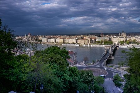 Budapest, capital of Hungary, view of Pest with the Chain Bridge Stock Photo
