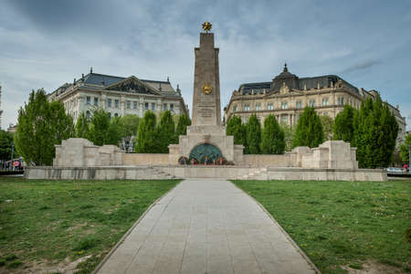 Budapest, capital of Hungary, Szabadsag square, the monument of Soviet heroes of Second World War