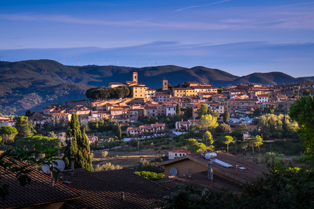 Montescudaio, Tuscany, Italy, panoramic view at the first dawn lights
