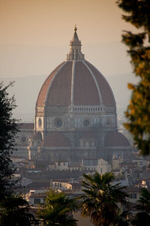 Florence, Tuscany - the wonderful panoramic view of Florence from Piazzale Michelangelo, Cathedral of Santa Maria del Fiore Stock Photo