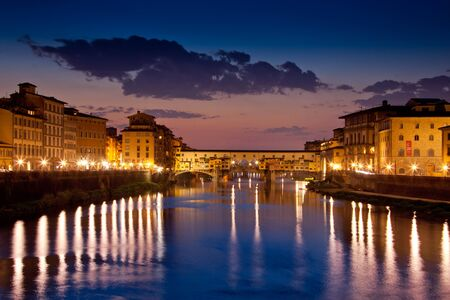 Florence, Tuscany - Panoramic view of the Ponte Vecchio on a clear night
