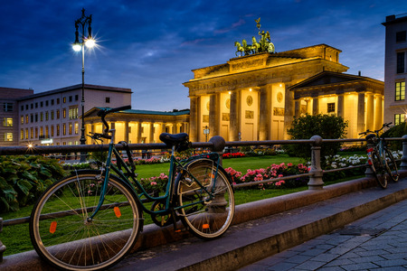 quadriga: BERLIN, GERMANY - SEPTEMBER 23, 2015: Famous Brandenburger Tor (Porta di Brandeburgo), one of the most famous monuments and national symbols of Germany Editorial