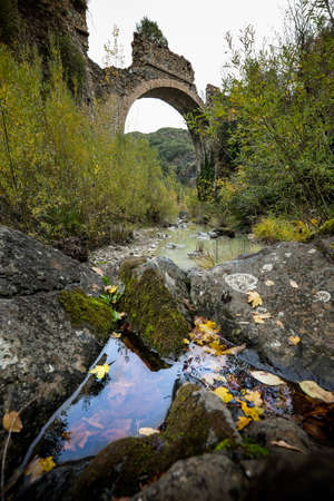 Montecatini Val di Cecina, Pisa, Italy - November 7, 2017: It is an itinerary in the Monterufoli Nature Reserve, the path turns through the old railway realised for transporting the brown-coal and operating between 1872 and 1928  Stock Photo