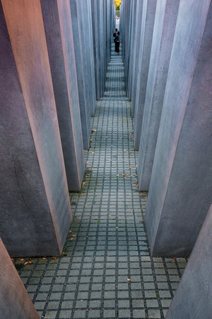 Berlin, Germany - September 23, 2015: the Memorial to the Murdered Jews of Europe, also known as the Holocaust Memorial, was designed by architect Peter Eisenman and engineer Buro Happold Editorial