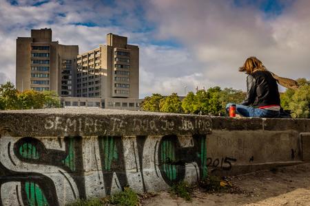Berlin, Germany - September 20, 2015: Kreuzberg district, belongs to the district of Friedrichshain-Kreuzberg, Berlin Deutschland