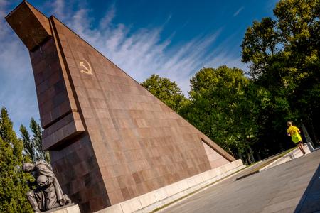 Berlin, Germany - September 20, 2015: Kreuzberg district, belongs to the district of Friedrichshain-Kreuzberg, Soviet War Memorial Treptower Park, Berlin Deutschland