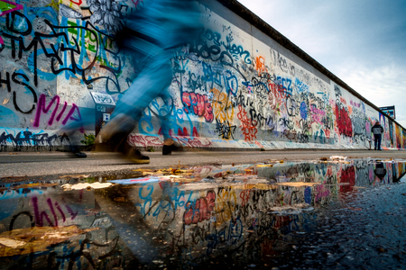 Berlin, Germany - September 21, 2015: The Berlin Wall East Side Gallery is the largest open air gallery in the world 報道画像