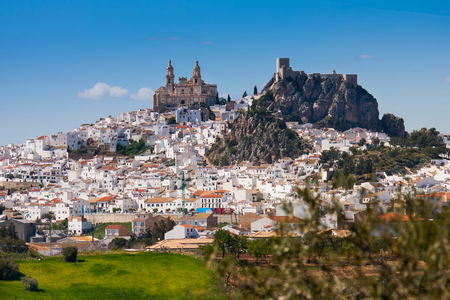Olvera is a white village (pueblo blanco) in Sierra de Grazalema, Cadiz province, Andalucia, Spain - the Parroquia de Nuestra Senora de la Encarnacion (the Parish of Our Lady of the Incarnation) and the Moorish castle  Stock Photo