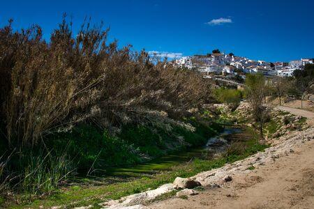 Setenil de las Bodegas, Cadiz province, Andalusia, Spain, a famous village de la Ruta de los Pueblos Blancos, white villages, between Cadiz and Malaga, the countryside a few kilometers from Setenil