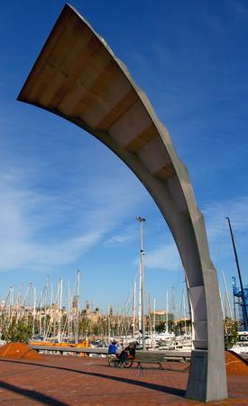 Barcelona, Catalonia, Spain - Contemporary street lamps or Sculpture and Promenade, Port Vell, Barcelona, Spain Redakční